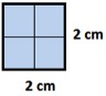 area of square with side=2 cm