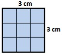 area of square with side=3 cm