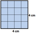 area of square with side=4 cm