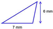 triangle with area=21 sq mm